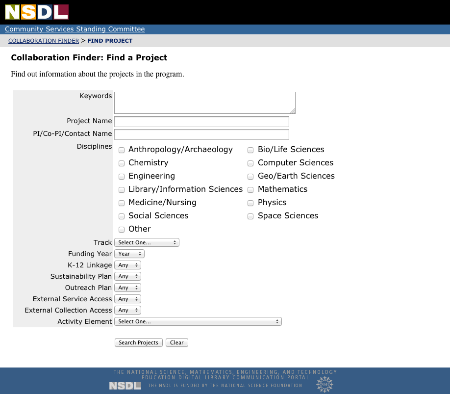 NSDL Collaboration Finder
