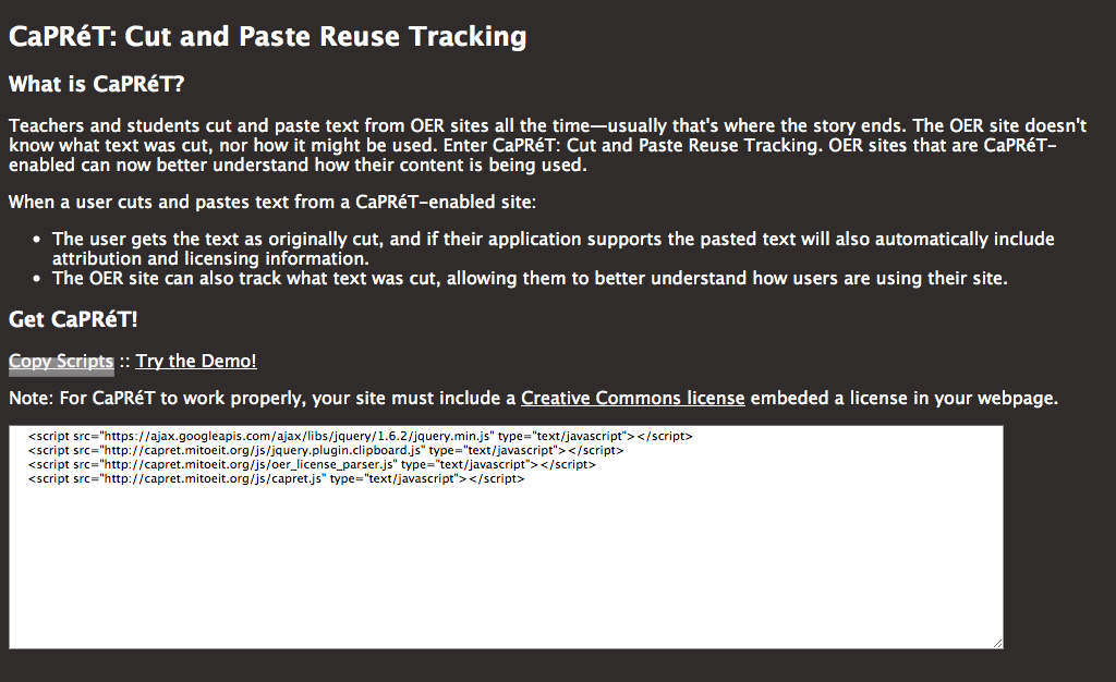 CaPRéT: Cut and Paste Reuse Tracking Tool Website